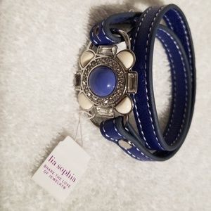 NWT Lia Sophia wrap bracelet blue leather